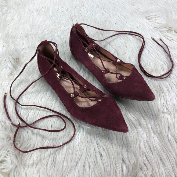 Halogen Burgundy Suede Lace Up Pointed Toe Flats